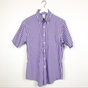 Brooks Brothers | Purple Gingham S/S Button up
